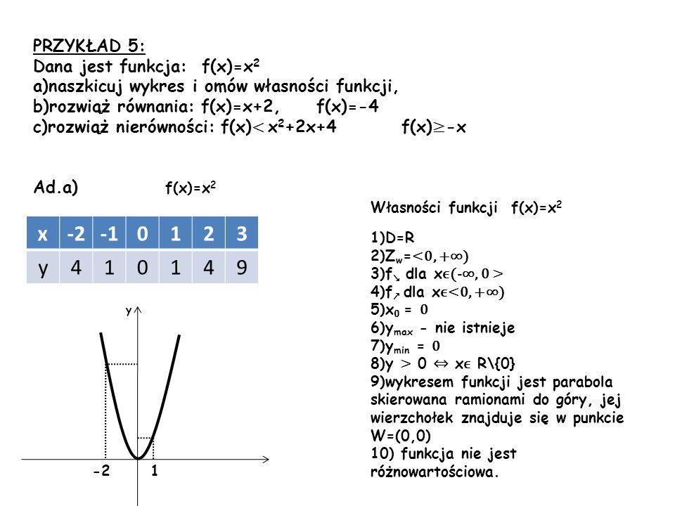 x -2 -1 1 2 3 y 4 9 PRZYKŁAD 5: Dana jest funkcja: f(x)=x2