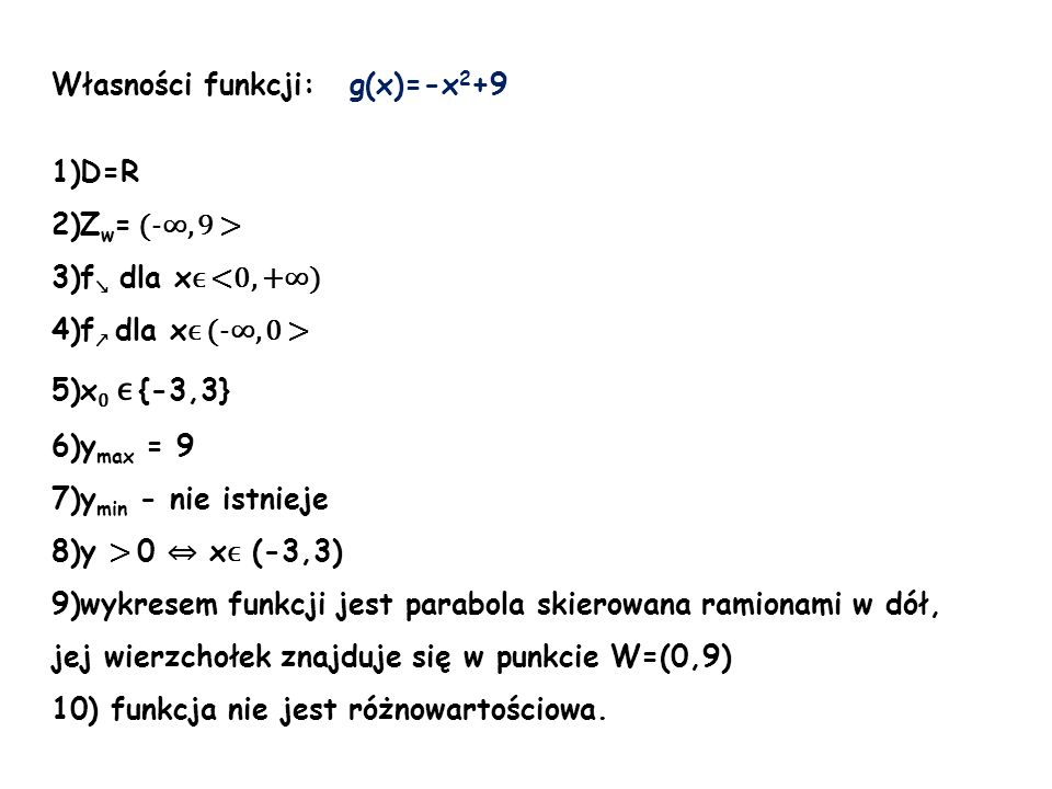 Własności funkcji: g(x)=-x2+9