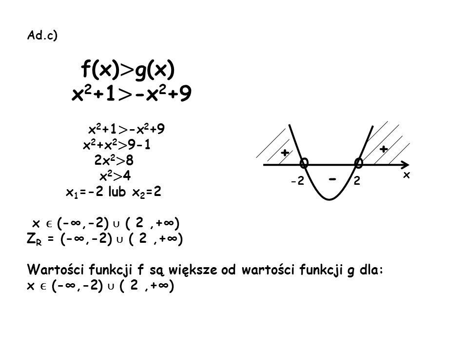 f(x)>g(x) x2+1>-x2+9 o + + - x2+x2>9-1 2x2>8 x2>4