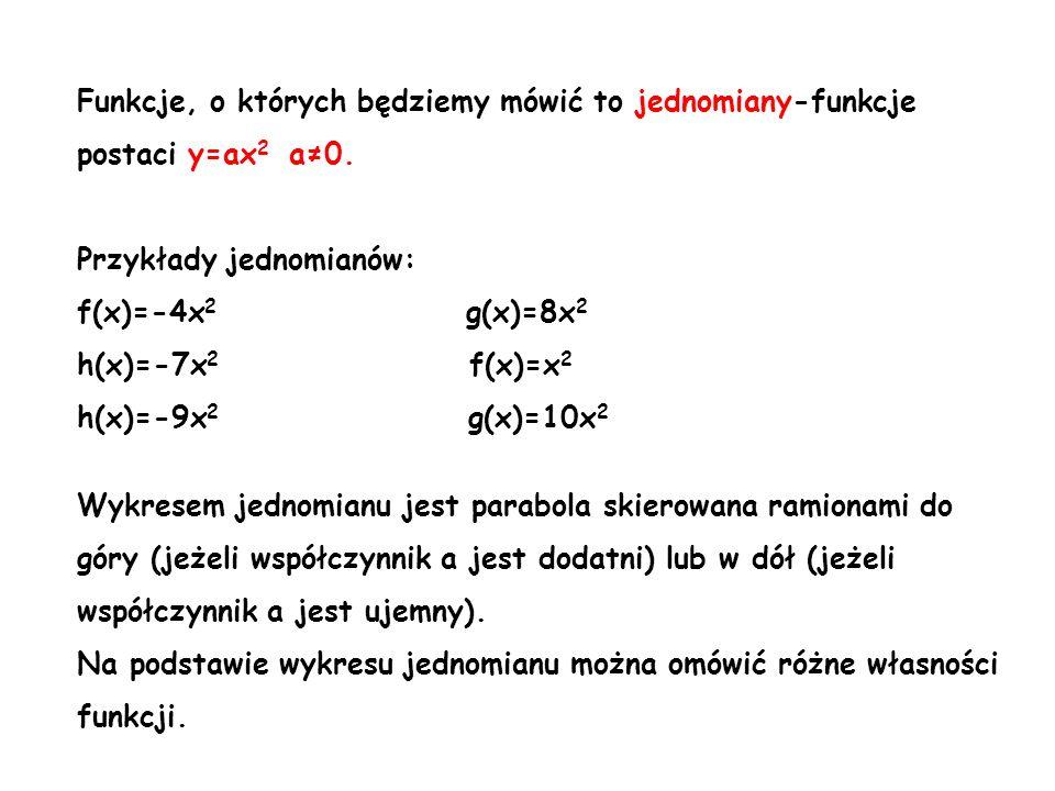 Funkcje, o których będziemy mówić to jednomiany-funkcje postaci y=ax2 a≠0.