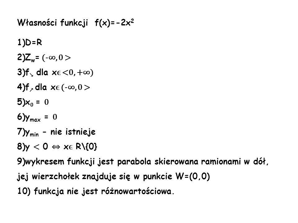 Własności funkcji f(x)=-2x2