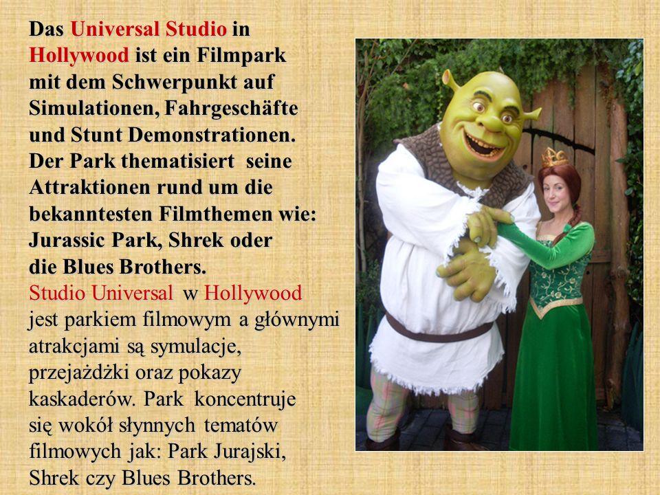 Das Universal Studio in Hollywood ist ein Filmpark mit dem Schwerpunkt auf Simulationen, Fahrgeschäfte und Stunt Demonstrationen.
