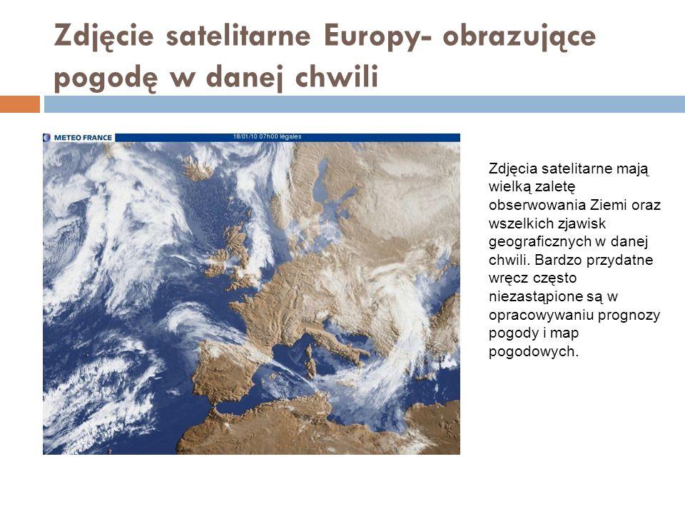 Zdjęcie satelitarne Europy- obrazujące pogodę w danej chwili