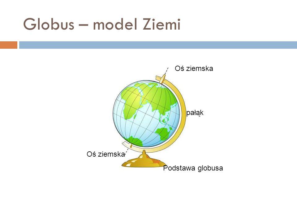 Globus – model Ziemi Oś ziemska pałąk Oś ziemska Podstawa globusa