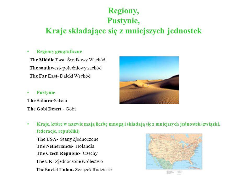 Regiony, Pustynie, Kraje składające się z mniejszych jednostek