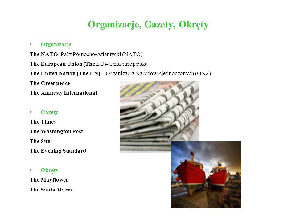 Organizacje, Gazety, Okręty