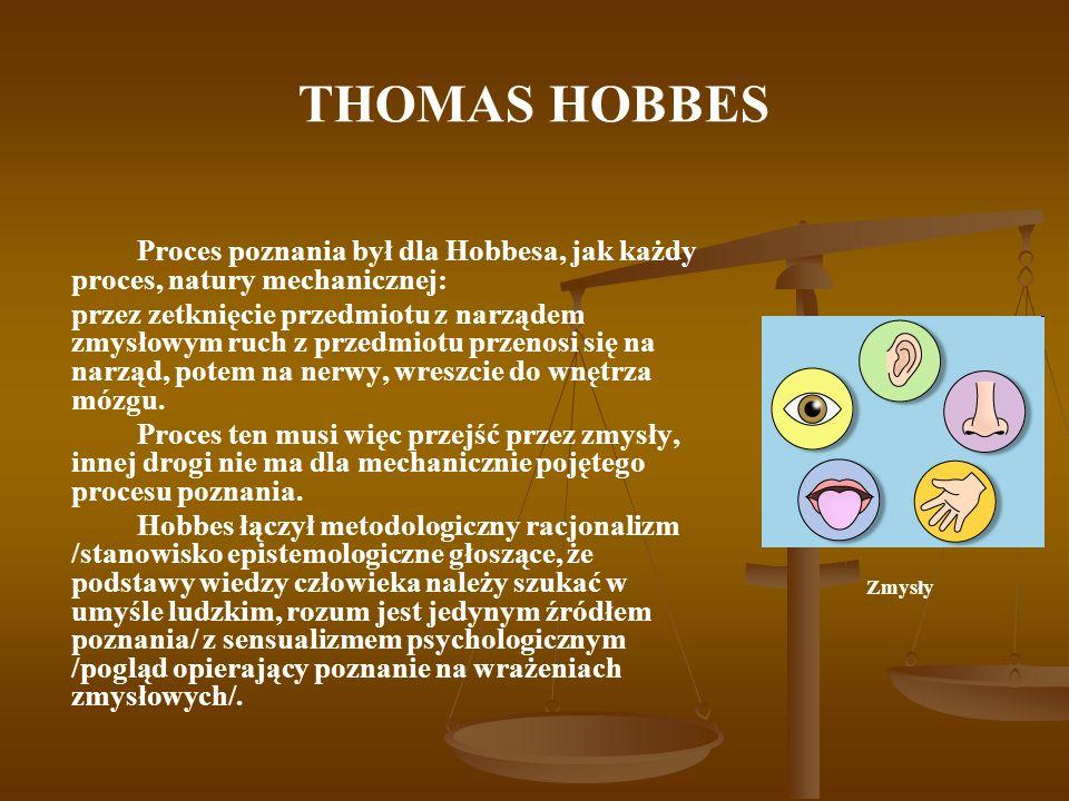 THOMAS HOBBES Proces poznania był dla Hobbesa, jak każdy proces, natury mechanicznej: