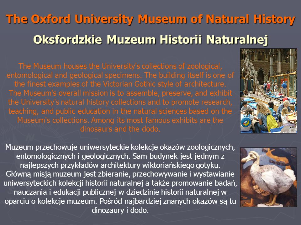 The Oxford University Museum of Natural History Oksfordzkie Muzeum Historii Naturalnej