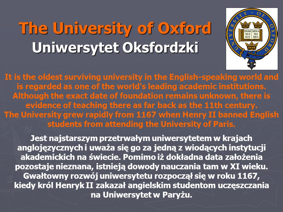 The University of Oxford Uniwersytet Oksfordzki