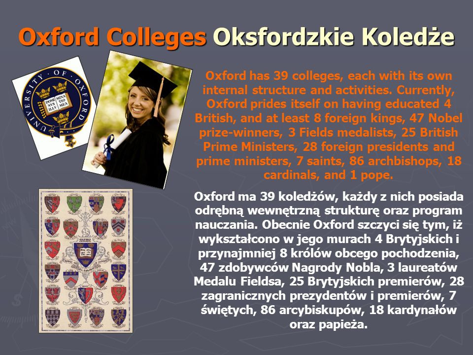 Oxford Colleges Oksfordzkie Koledże