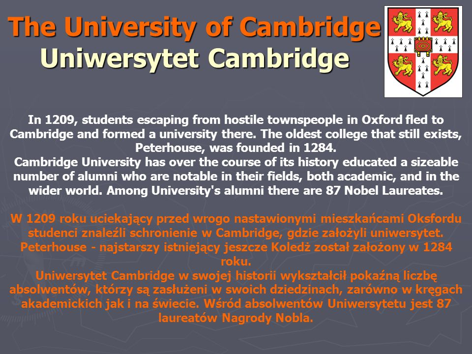 The University of Cambridge Uniwersytet Cambridge