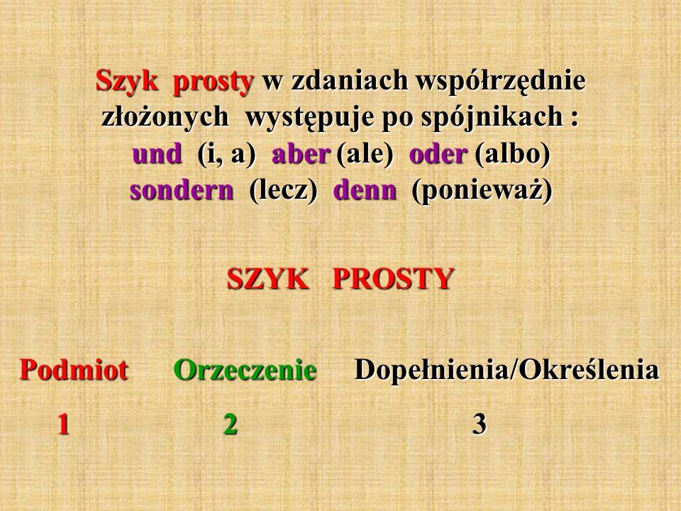 Szyk prosty w zdaniach współrzędnie złożonych występuje po spójnikach : und (i, a) aber (ale) oder (albo) sondern (lecz) denn (ponieważ)