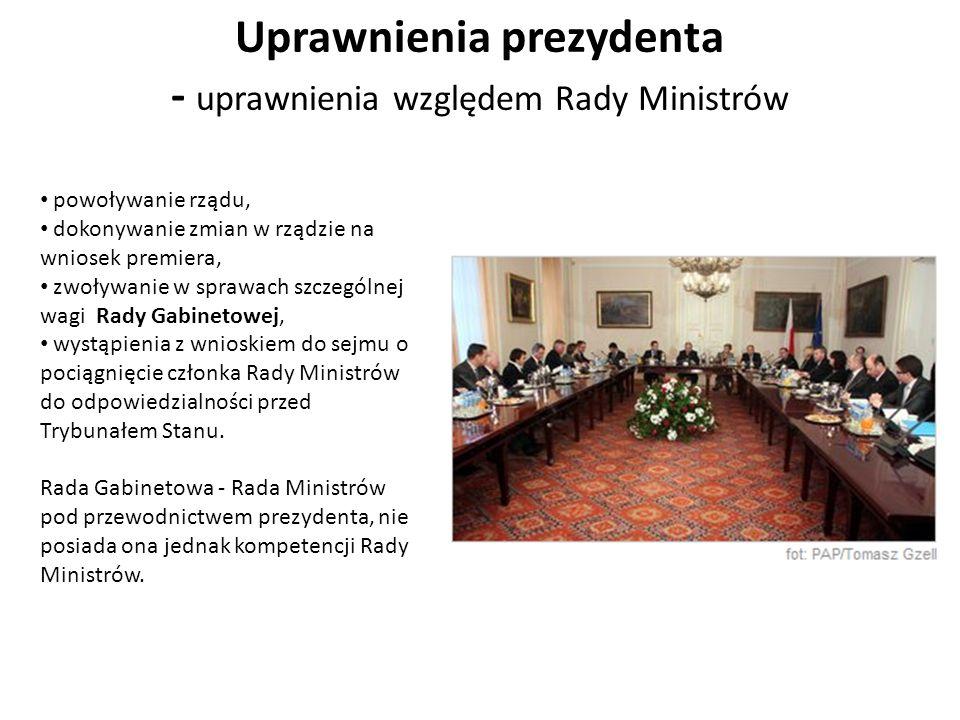 Uprawnienia prezydenta - uprawnienia względem Rady Ministrów