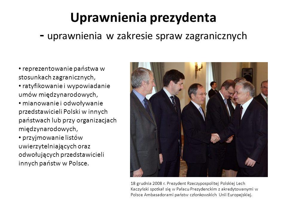 Uprawnienia prezydenta - uprawnienia w zakresie spraw zagranicznych