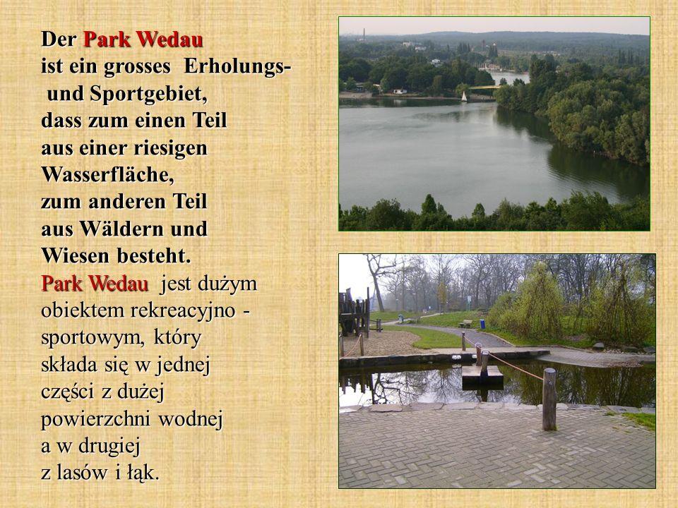 Der Park Wedau ist ein grosses Erholungs- und Sportgebiet, dass zum einen Teil aus einer riesigen Wasserfläche, zum anderen Teil aus Wäldern und Wiesen besteht.