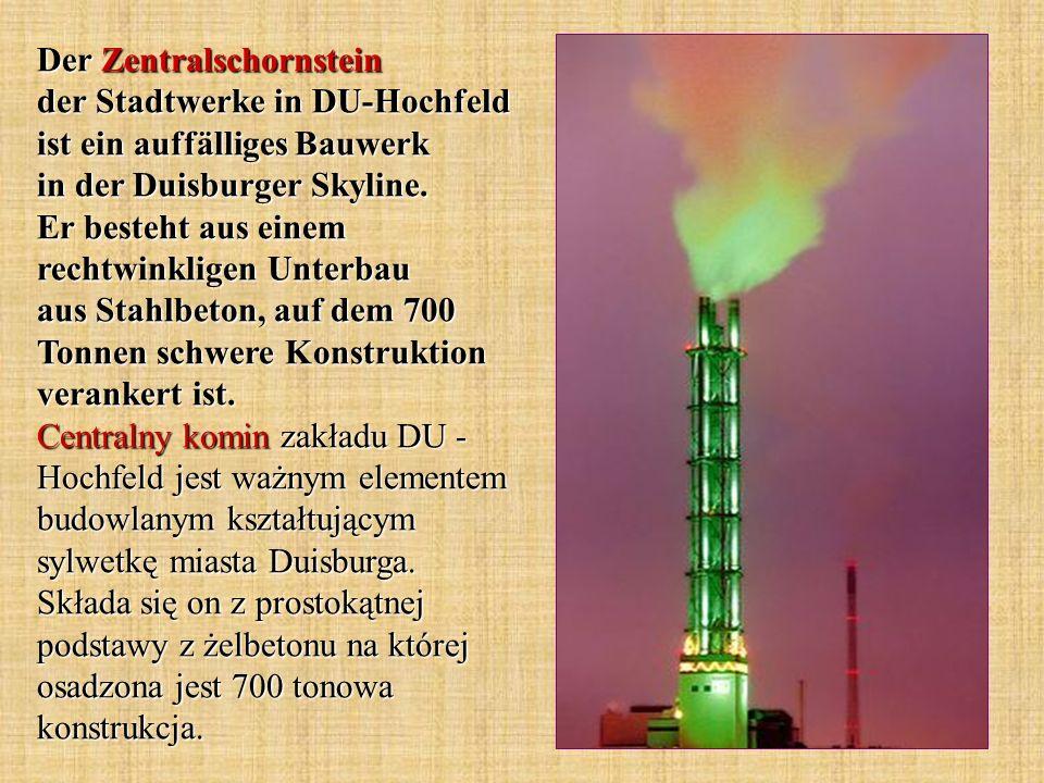 Der Zentralschornstein der Stadtwerke in DU-Hochfeld ist ein auffälliges Bauwerk in der Duisburger Skyline.