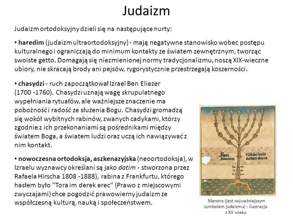 Menora (jest najważniejszym symbolem judaizmu) - ilustracja z XV wieku