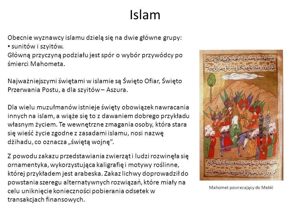 Islam Obecnie wyznawcy islamu dzielą się na dwie główne grupy: