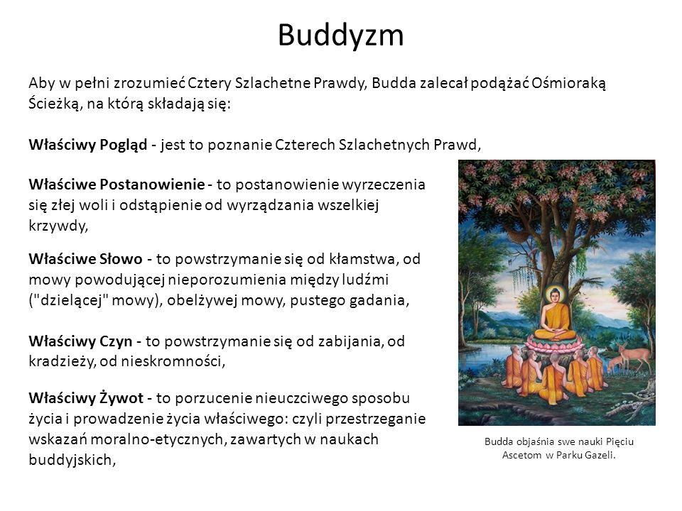 Budda objaśnia swe nauki Pięciu Ascetom w Parku Gazeli.