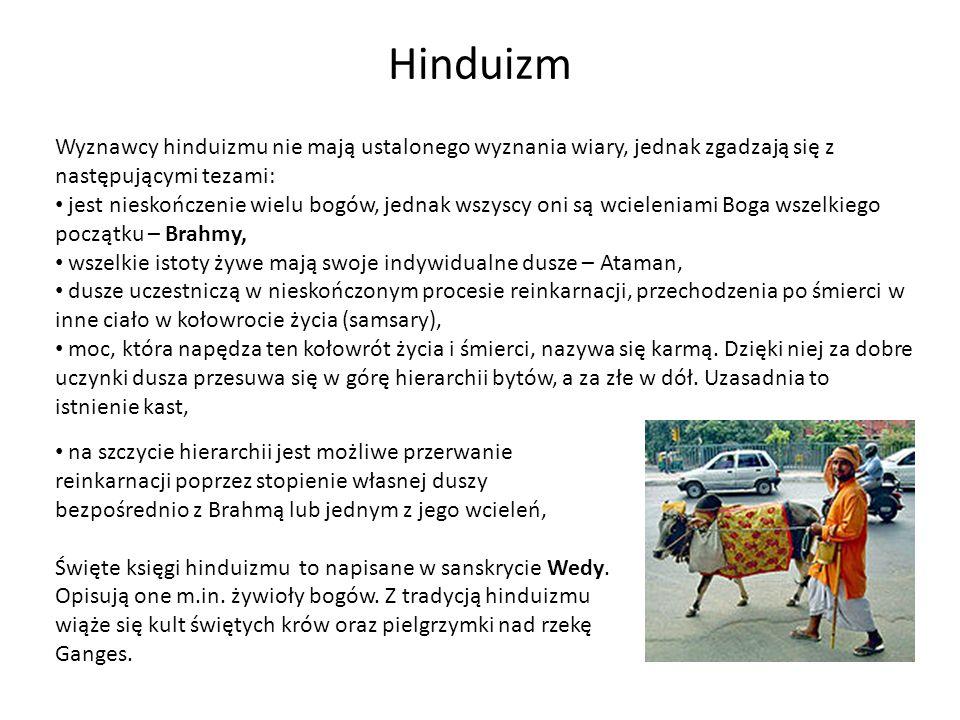 Hinduizm Wyznawcy hinduizmu nie mają ustalonego wyznania wiary, jednak zgadzają się z następującymi tezami: