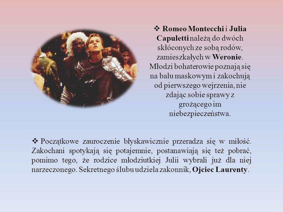 Romeo Montecchi i Julia Capuletti należą do dwóch skłóconych ze sobą rodów, zamieszkałych w Weronie. Młodzi bohaterowie poznają się na balu maskowym i zakochują od pierwszego wejrzenia, nie zdając sobie sprawy z grożącego im niebezpieczeństwa.