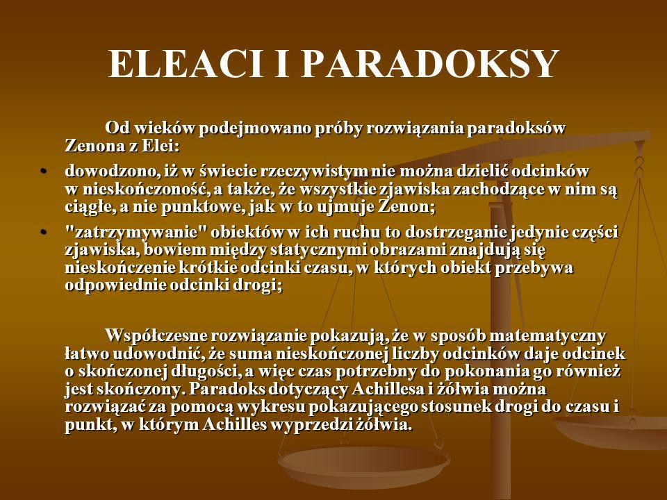 ELEACI I PARADOKSY Od wieków podejmowano próby rozwiązania paradoksów Zenona z Elei:
