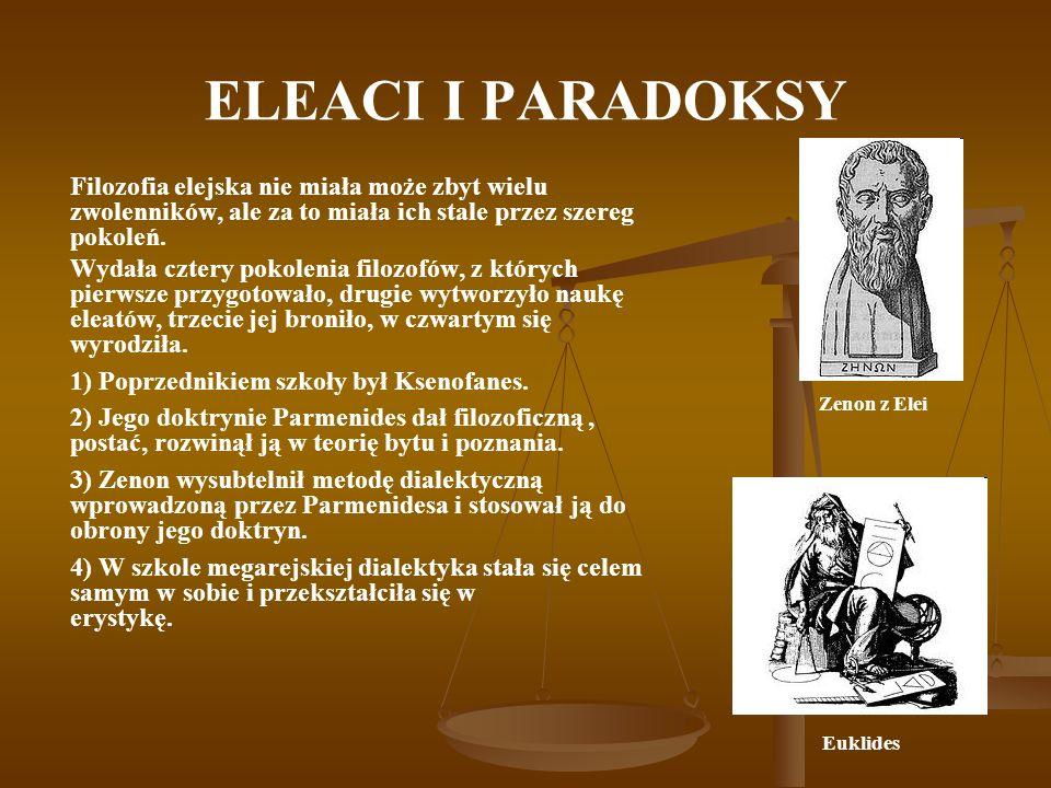 ELEACI I PARADOKSY Filozofia elejska nie miała może zbyt wielu zwolenników, ale za to miała ich stale przez szereg pokoleń.