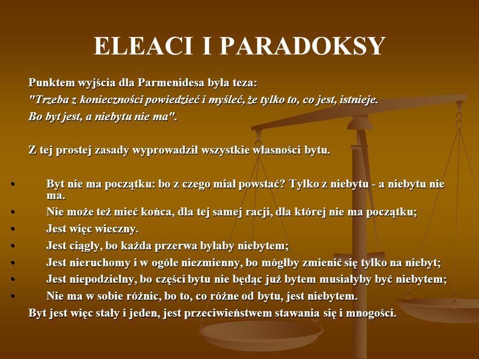 ELEACI I PARADOKSY Punktem wyjścia dla Parmenidesa była teza: