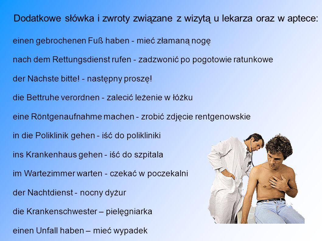 Dodatkowe słówka i zwroty związane z wizytą u lekarza oraz w aptece: