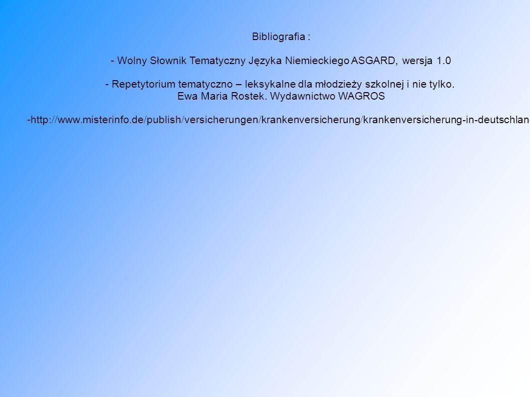 - Wolny Słownik Tematyczny Języka Niemieckiego ASGARD, wersja 1.0