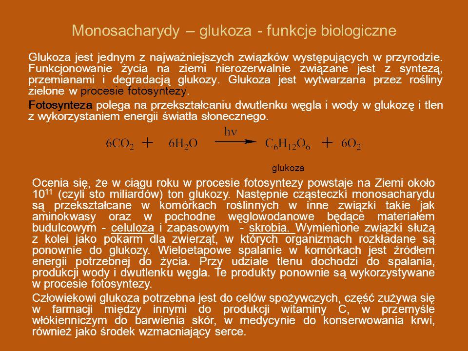 Monosacharydy – glukoza - funkcje biologiczne