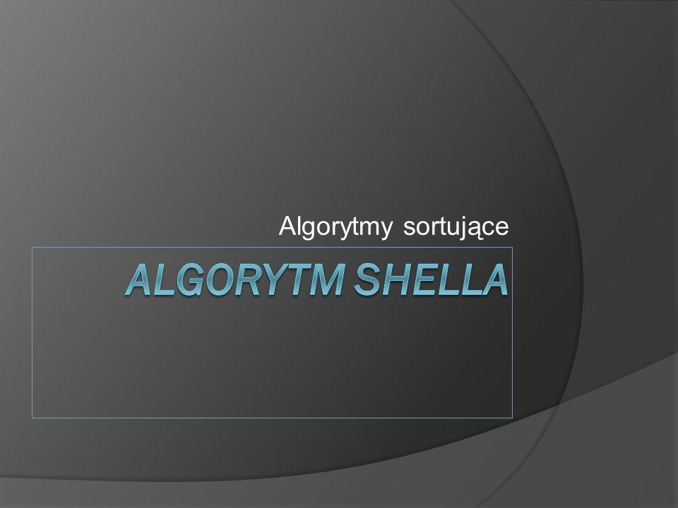 Algorytmy sortujące Algorytm Shella
