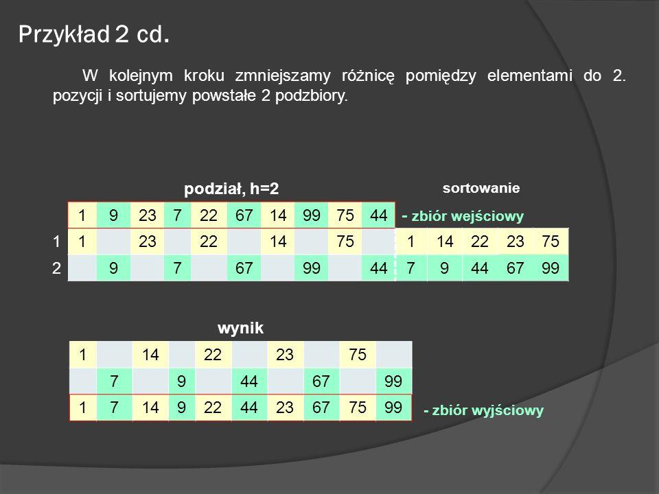 Przykład 2 cd. W kolejnym kroku zmniejszamy różnicę pomiędzy elementami do 2. pozycji i sortujemy powstałe 2 podzbiory.