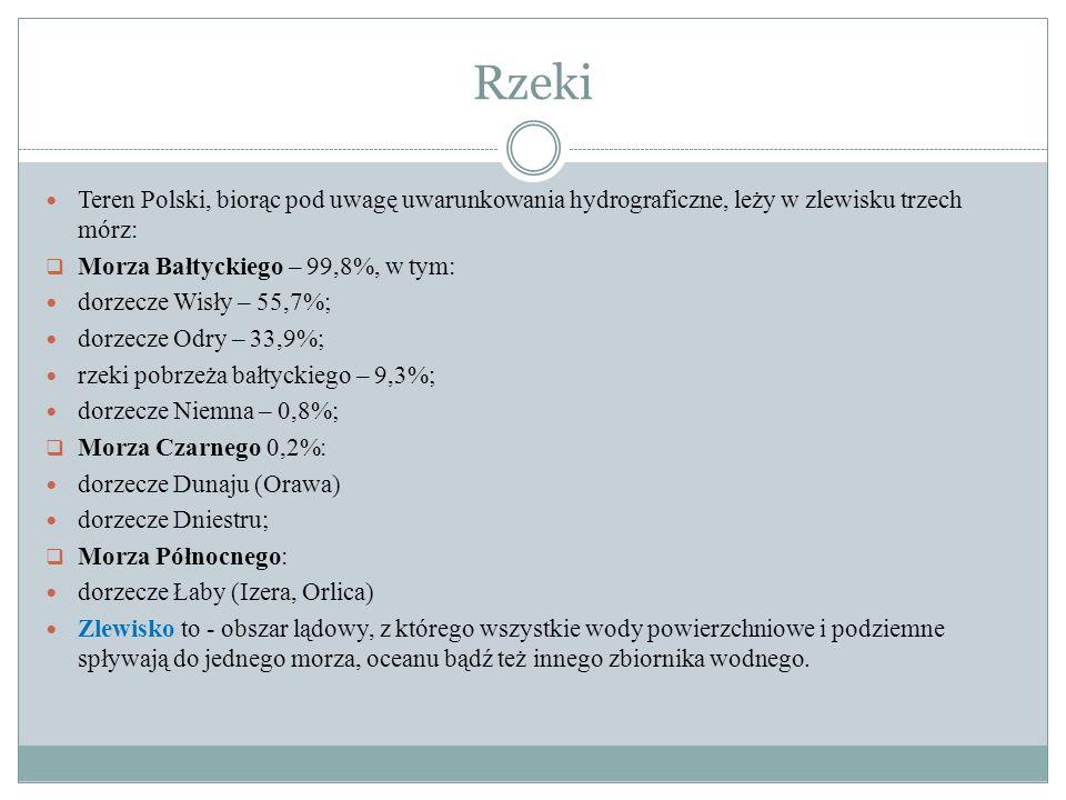 Rzeki Teren Polski, biorąc pod uwagę uwarunkowania hydrograficzne, leży w zlewisku trzech mórz: Morza Bałtyckiego – 99,8%, w tym: