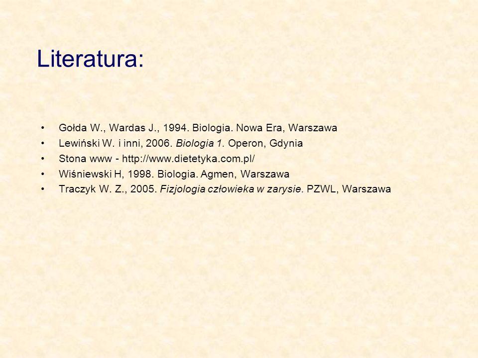 Literatura: Gołda W., Wardas J., 1994. Biologia. Nowa Era, Warszawa
