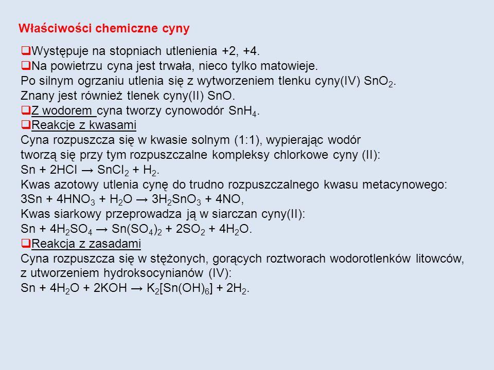 Właściwości chemiczne cyny