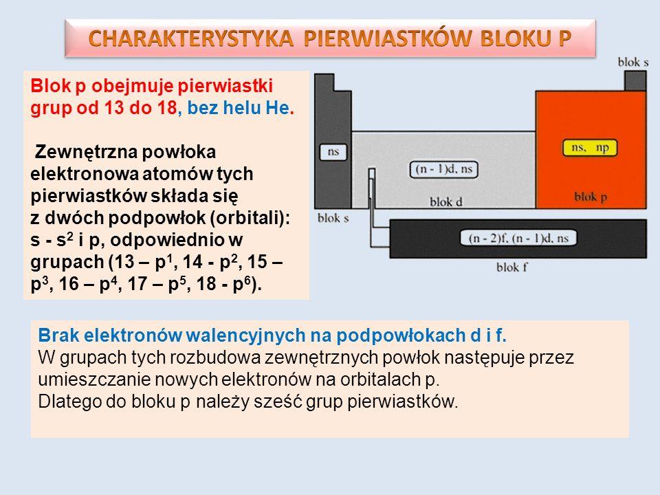 CHARAKTERYSTYKA PIERWIASTKÓW BLOKU P