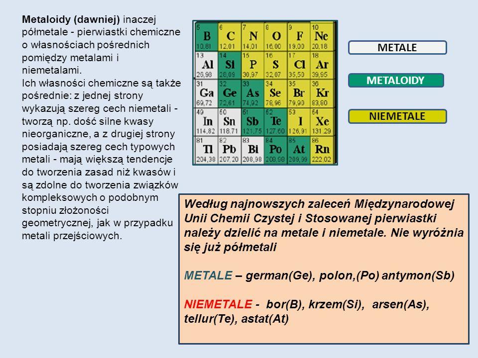 METALE METALOIDY NIEMETALE