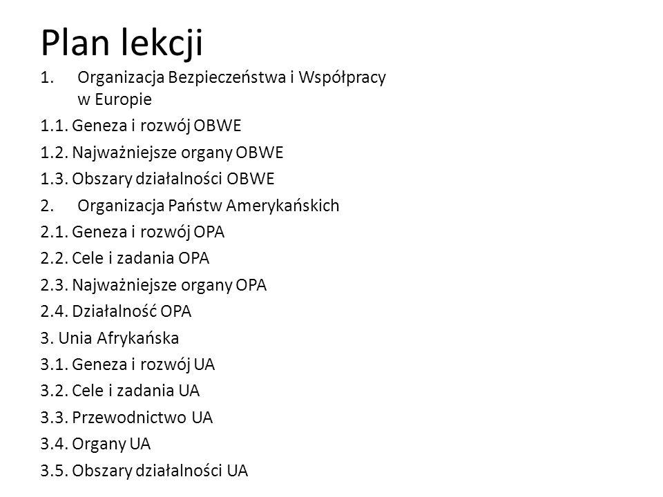 Plan lekcji Organizacja Bezpieczeństwa i Współpracy w Europie