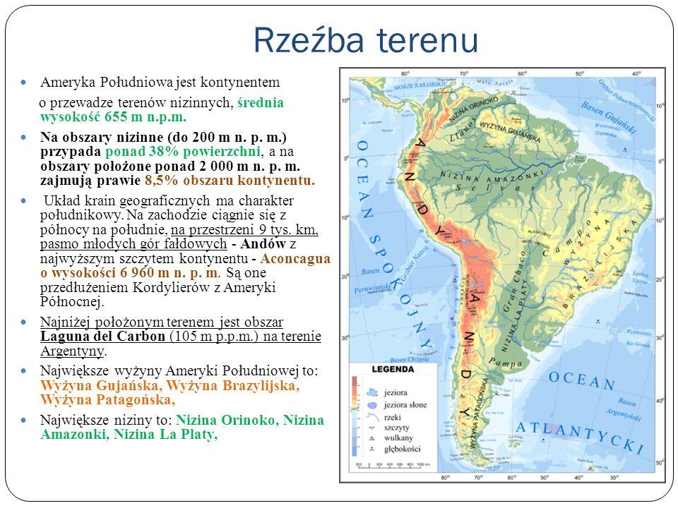 Rzeźba terenu Ameryka Południowa jest kontynentem