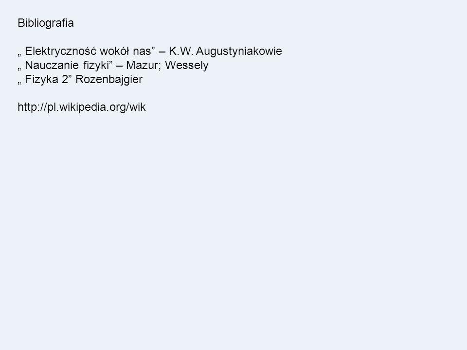 """Bibliografia """" Elektryczność wokół nas – K.W. Augustyniakowie. """" Nauczanie fizyki – Mazur; Wessely."""