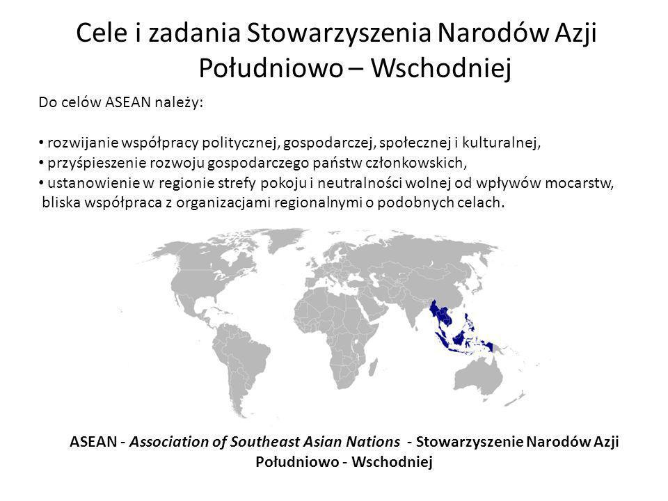 Cele i zadania Stowarzyszenia Narodów Azji Południowo – Wschodniej