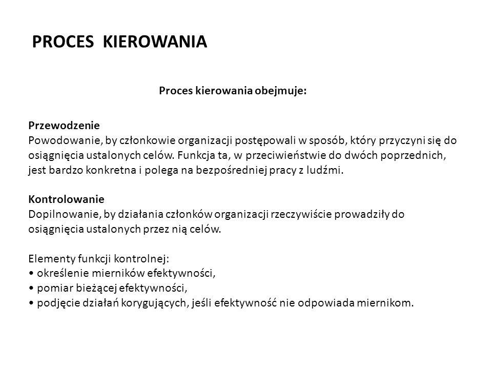 PROCES KIEROWANIA Proces kierowania obejmuje: