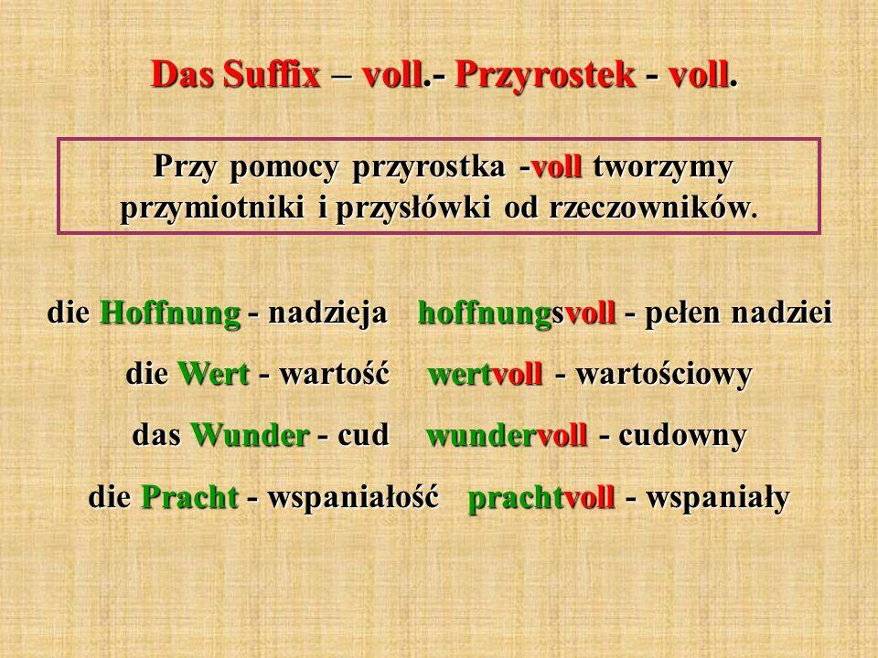 Das Suffix – voll.- Przyrostek - voll.