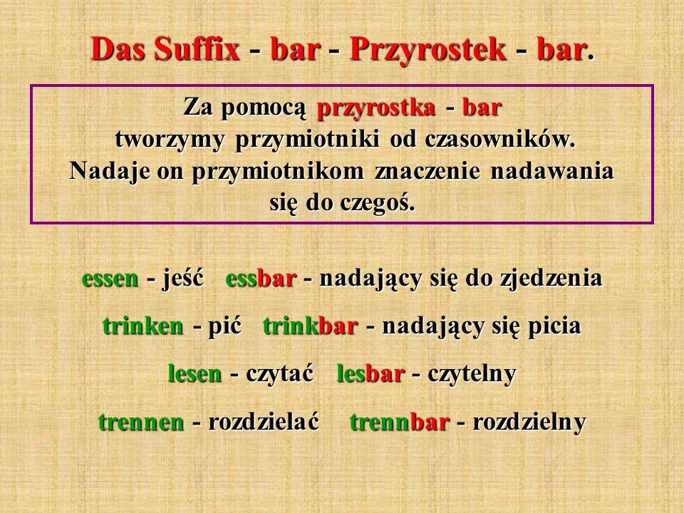 Das Suffix - bar - Przyrostek - bar.