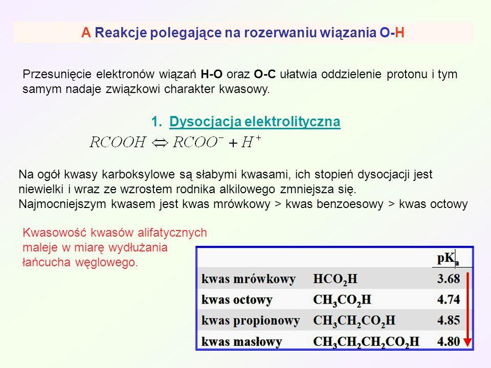 A Reakcje polegające na rozerwaniu wiązania O-H
