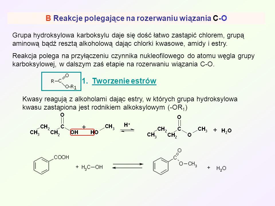 B Reakcje polegające na rozerwaniu wiązania C-O