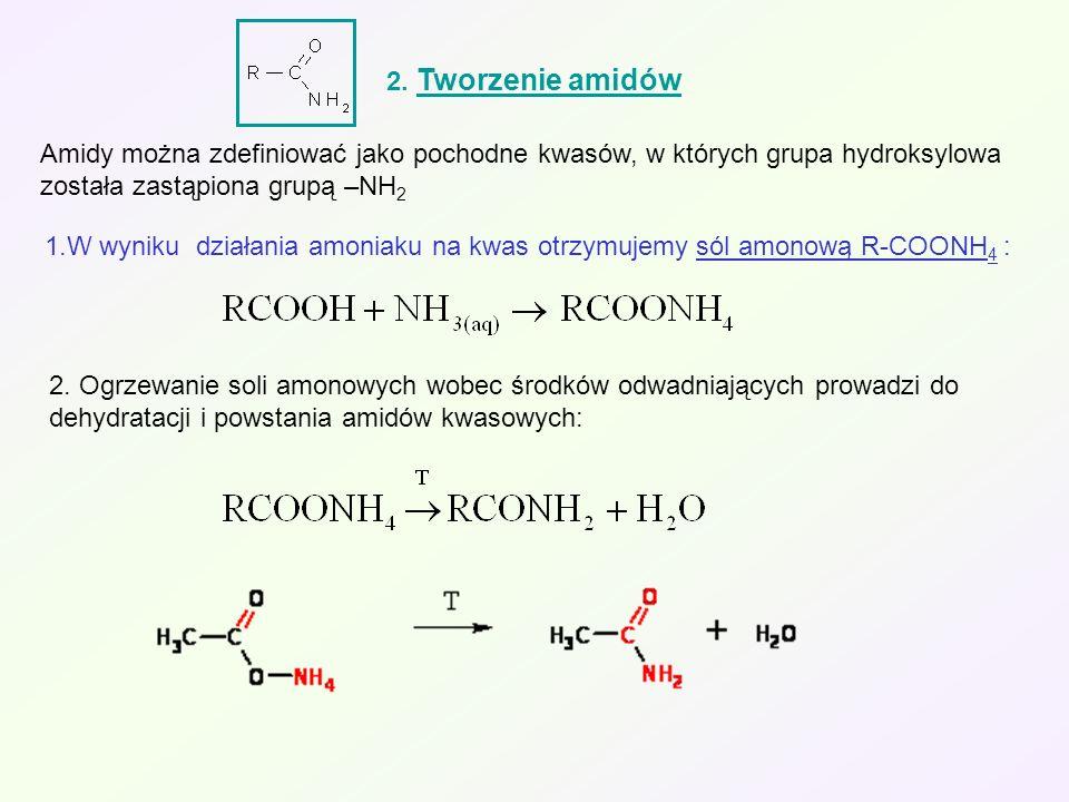 2. Tworzenie amidów Amidy można zdefiniować jako pochodne kwasów, w których grupa hydroksylowa została zastąpiona grupą –NH2.