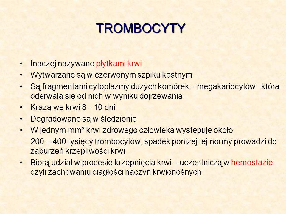 TROMBOCYTY Inaczej nazywane płytkami krwi