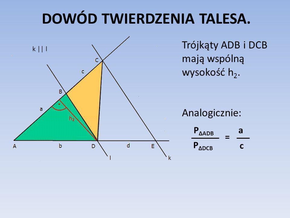 DOWÓD TWIERDZENIA TALESA.